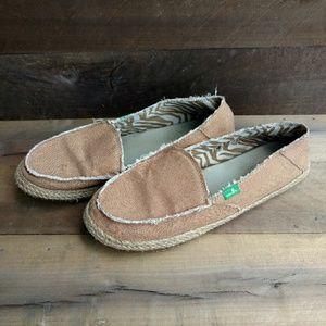 Sanuk Women's Natural Sidewalk Slip On Shoes Sz.9